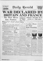 War Declared, Daily Herald, September 4, 1939